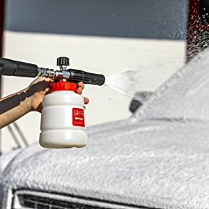 foam cannon, also known as a foam lance produces ultra thick car washing foam.
