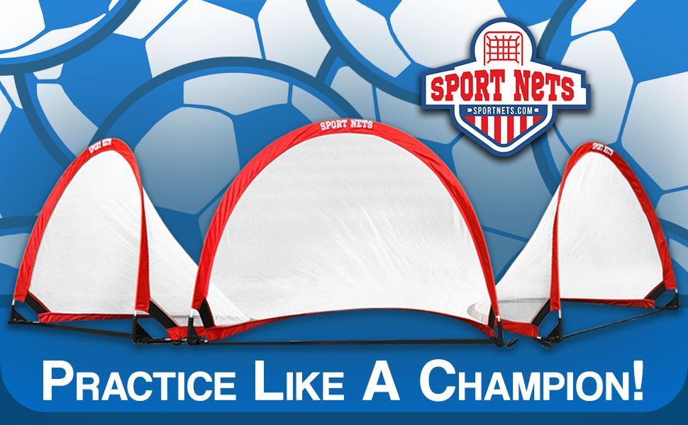 Practice like a champion pop up soccer goal with sport nets logo and soccer balls in background