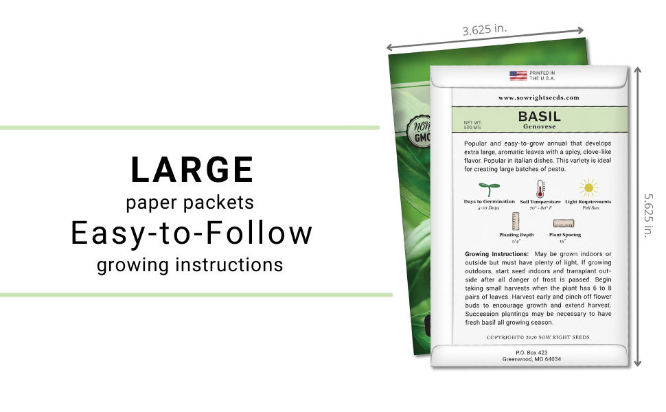 large paper packets, easy-to-follow growing instructions