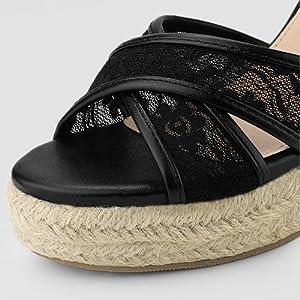 Allegra K Women's Espadrilles Lace Wedges Wedge Sandals