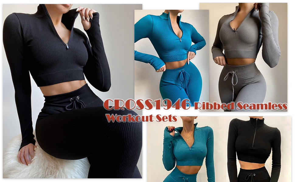 CROSS1946 Ribbed Seamless Yoga Outfits 2 Piece for Women