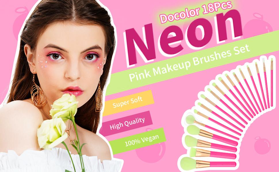 Makeup Brushes Set Docolor 18 Pcs Neon Pink Makeup Brushes Professional