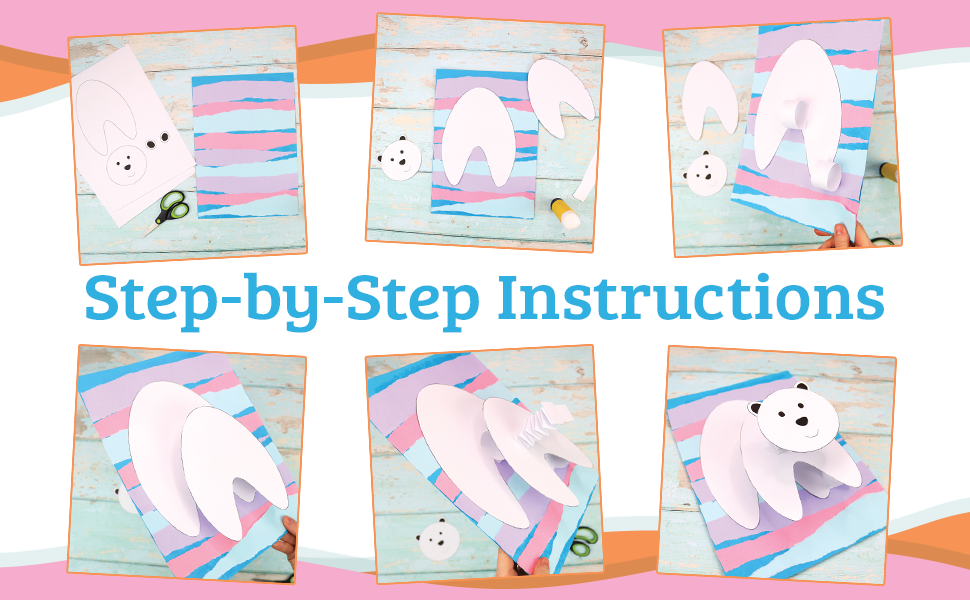 """Sequence of photos displaying the 3D polar bear project with the text, """"Step-by-Step Instructions."""""""