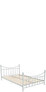 Vida Designs Paris Petit lit double en métal, blanc