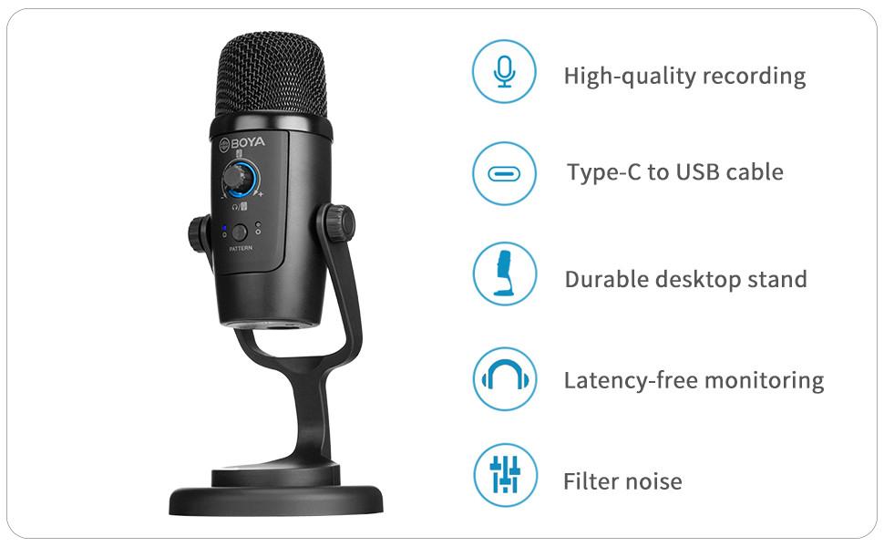 USB Computer Microphone Studio Condenser, BOYA BY-PM500 Professional Plug amp;Play Desktop Mic