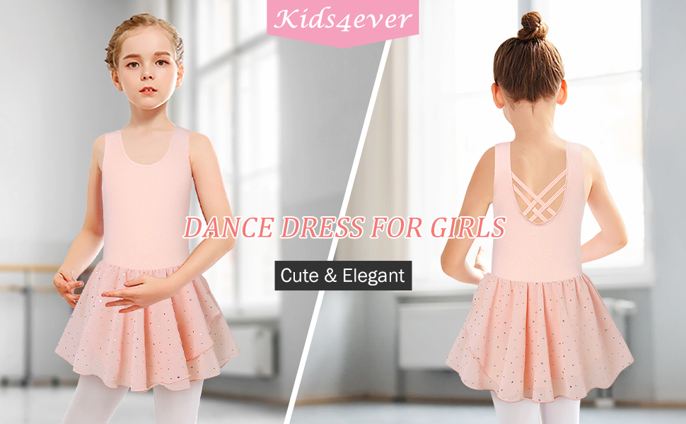 Girls Ballet Dance Dress Camisole Leotards with Shiny Tutu Skirt Ballerina Outfits 3-9 Years