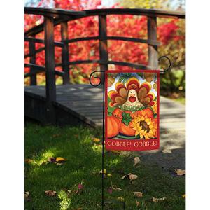 Garden flag with autumn turkey design