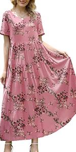 Women Casual Loose Floral Printed Bohemian Dress