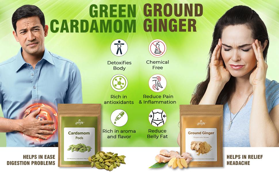 Go-Yogik Ginger Powder + Cardamom Pod