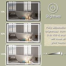 LED Bathroom Mirror: adjust brightness
