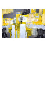 Large Abstract Yellow Grey Canvas Wall Art