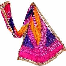 Jaipuri Rajasthani Women Silk Bandhani Bandhej Single-Colored Heavy Dupatta