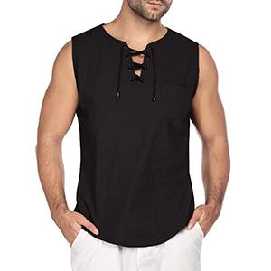 MakingDa Mens Cotton Linen Smart Casual Shirt Grandad Collar Drawstring Ghillie Hippie Henley Top