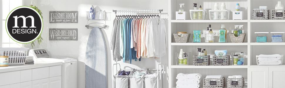 mDesign logo, Laundry room setting, washer, ironing board, clothes, shelves, baskets holding bottles