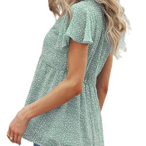 Women's Ruffle Sleeve V Neck Short Sleeve Cute Floral Chiffon Shirt Flowy Tunic Tops