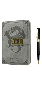 Dragon Leather Journal with Pen Diary with Combination Lock