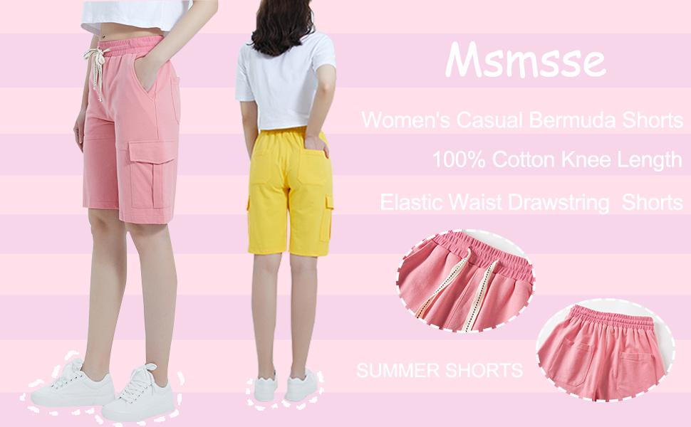 Womens Casual Cargo Cotton Shorts Bermuda Elastic Waist Drawstring Plus Size Shorts