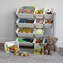 Kids toy organizer with 12 bins full of toys, books, stuffed animals and more