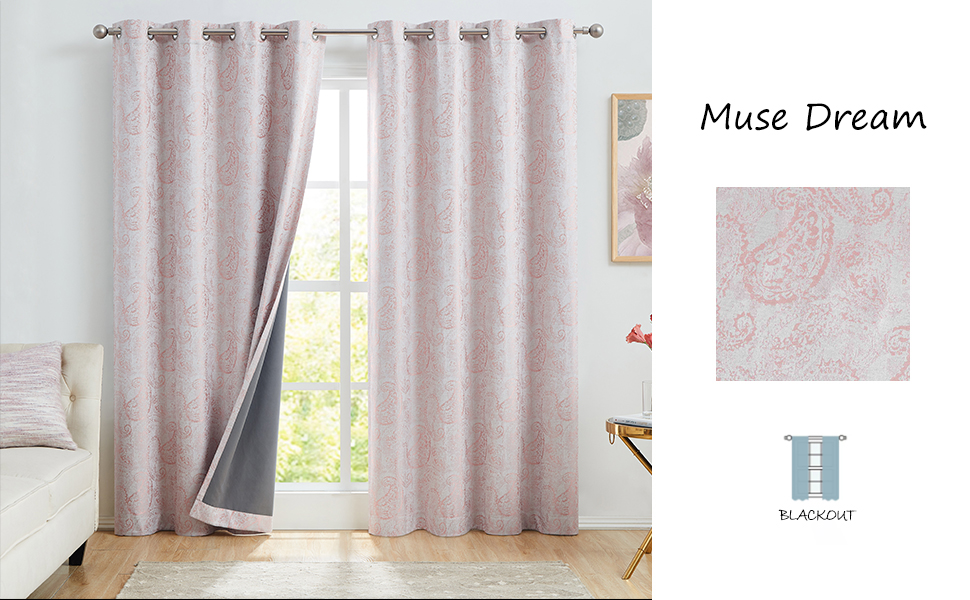 coral pink black out curtains 84 inch 2 panels set paisley luxury curtains european style vintage