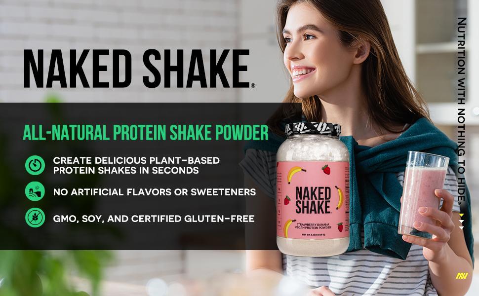strawberry protein shake, vegan protein shake, banana protein shake, vegan protein powder