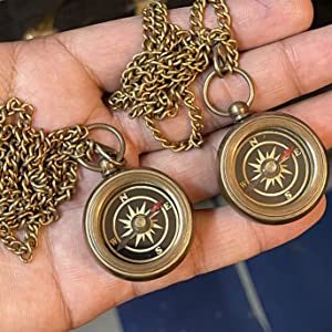"""Beautiful set of 2 Compass Necklaces, Engraved backside with """"Your Tubbo"""" and """"Your Tommy"""""""
