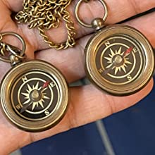Beautiful set of 2 Compass Necklaces Front side