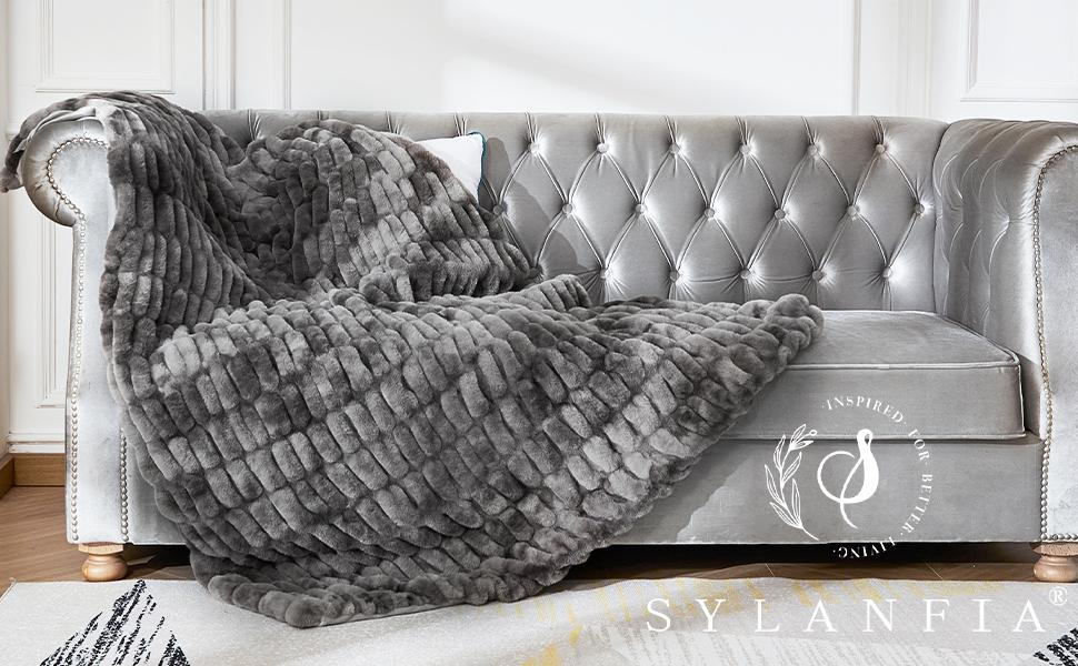 Sylanfia Elegant Grey Soft Fuzzy Comfortable Throw Blankets for couch, sofa and bed.