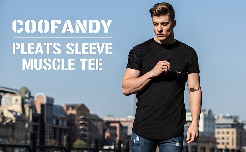 coofandy pleats sleeve muscle tee