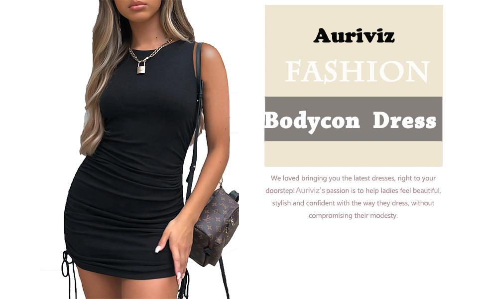 Womens Sleeveless Ruched Mini Bodycon Dress Side Drawstring Casual Summer Tank Shirt Club Dresses
