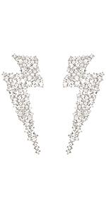 crystal lightning flash bolt earrings for women