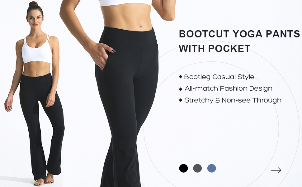 FITTIN Bootcut Yoga Pants for Women with Pockets