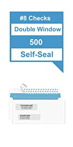 #8 Double Window Check Envelopes Self-Seal Security