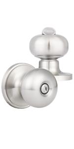 Brushed Nickel Door Knobs with Round Rosette