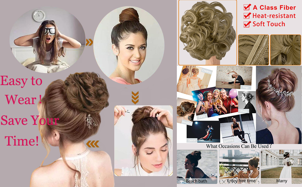 Messy Hair Bun Hair Scrunchies Extension Curly Wavy Messy Synthetic Chignon  Updo Hairpiece
