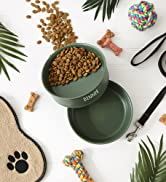 Lifestyle of hunter green large pet food bowl