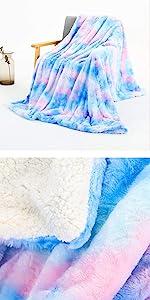 tie dye sherpa blanket colorful rainbow fuzzy blanket