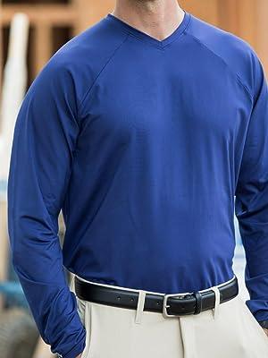 SUNTECT Men's Bosun V-Neck Long Sleeve Tee in Midnight Blue.