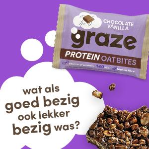 graze chocolate vanilla protein oat bites, havermoutrepen met chocolade en vanille