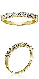 Vir Jewels 3/4 cttw Diamond Wedding Band 14K Yellow Gold 10 Stones Prong Set Round