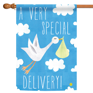 House flag with baby boy stork delivery design