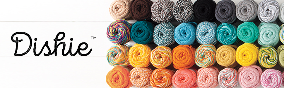 A beautiful assortment of Dishie yarn skeins displayed next to the word Dishie
