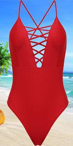 Ekouaer One Piece Bathing Suits Criss Cross Back One Piece Swimsuit for Women Monokini Swimwear