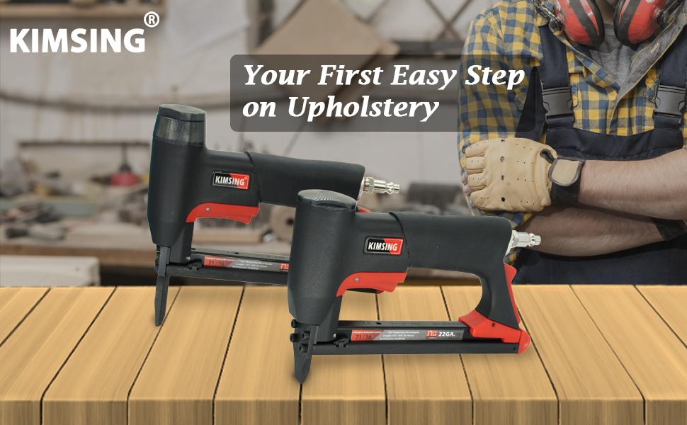 KIMSING 7116 22 Gauge Pneumatic Upholstery Stapler with Long Nose, 71 Power Stapler, Air Staple Gun