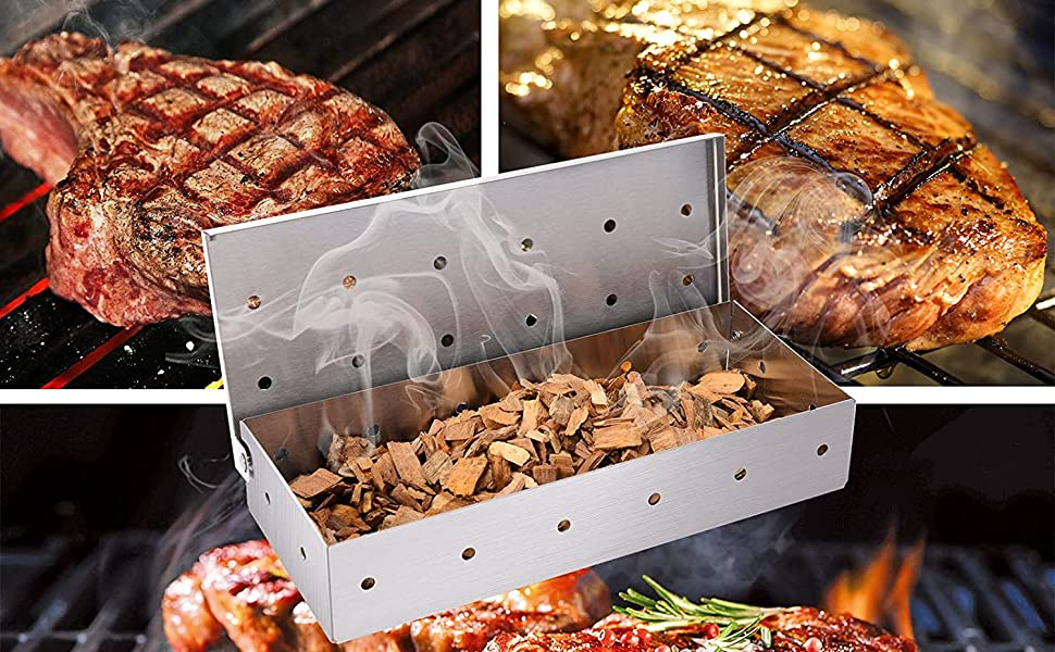 BBQ smoker box for Gas Grill or Charcoal Grill