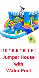10 * 6.5 * 5.1 FT bounce House with Water Pool