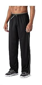Mens Tracksuit Bottoms Open Hem Lightweight Quick Dry Joggers Trousers Drawstring Zip Pockets