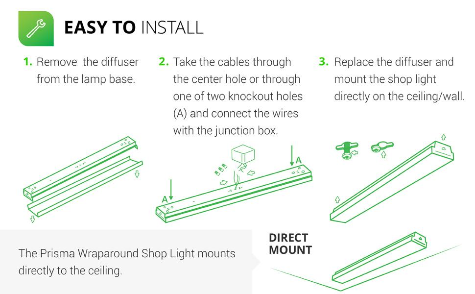 Daylight, Integrated, Prismatic Lens, Direct Wire, Flush Mount Fixture, Garage - ETL