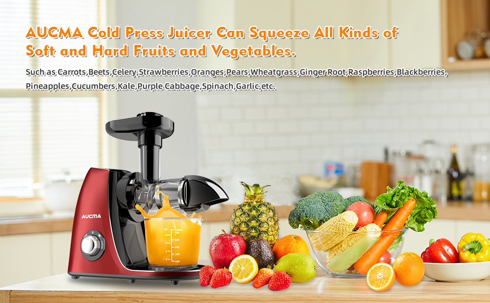 AUCMA Cold Press Juicer Can Squeeze ALL Kinds of Friuits and Vegetables.