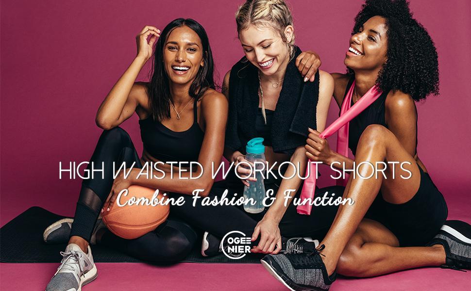 "Womens 9"" High Waisted Biker Shorts Workout Yoga Shorts with Pockets Running Gym Shorts"