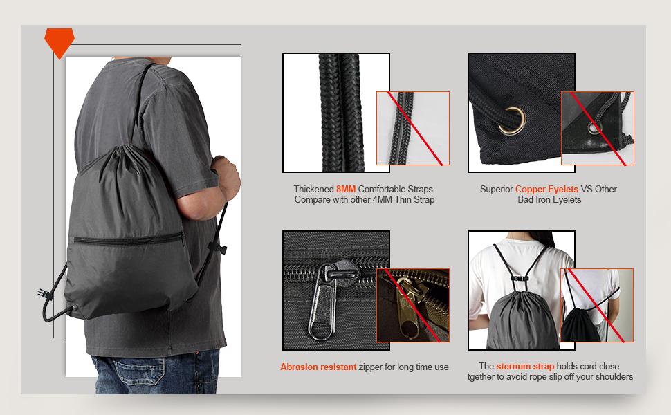 Easy on/off Rope Buckles amp; Lightweight black drawstring backpack